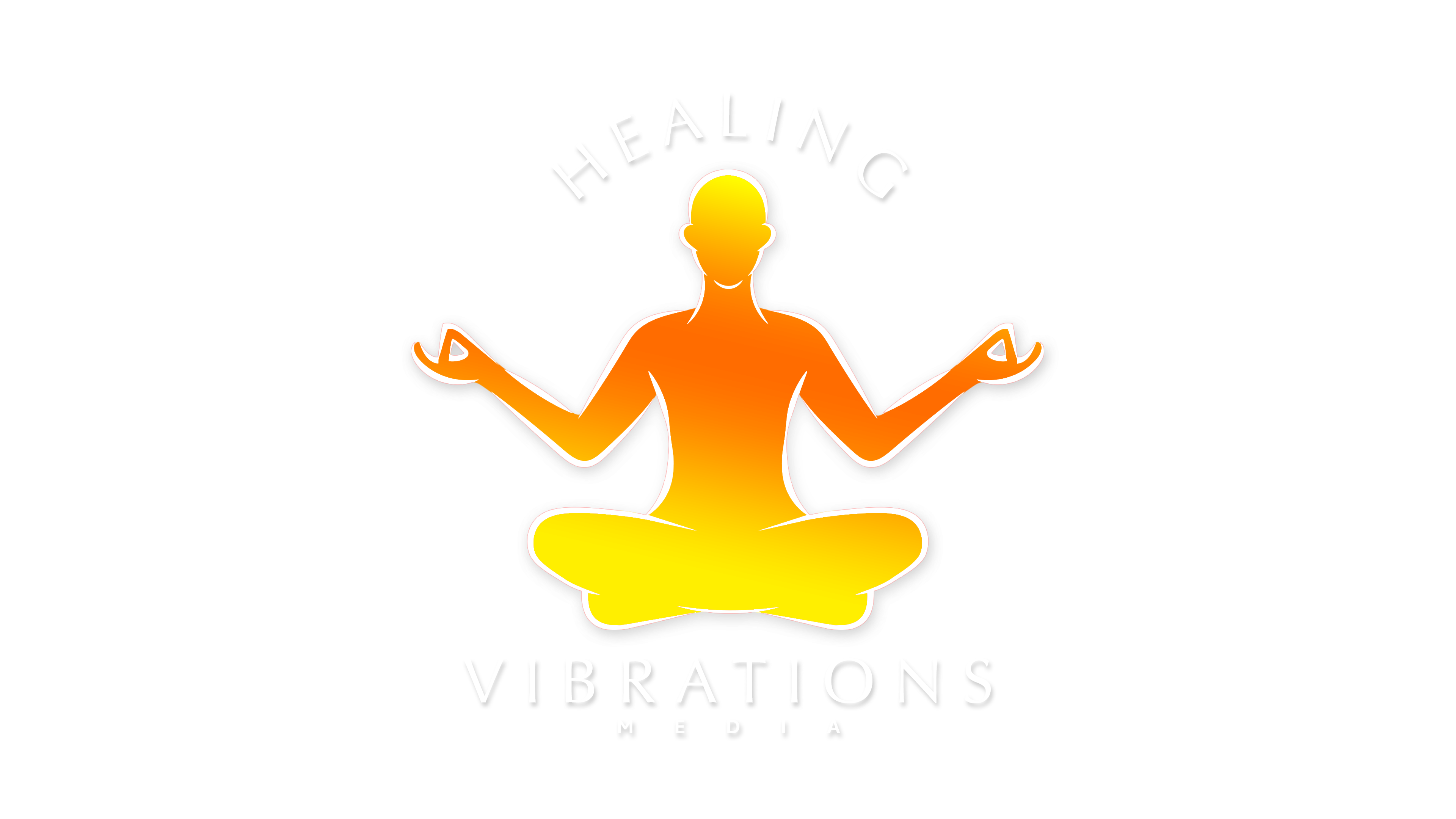 Healing Vibrations Logo 06-01-2020 - No BG - White Text and Outline - Glow